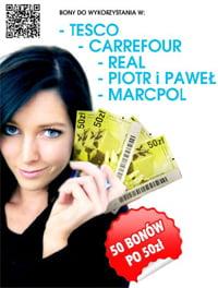 Rób zakupy za darmo, wygraj bony do supermarketów Tesco, Real, Carrefour i innych!