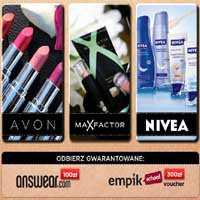 Darmowy Bon wygraj kupony na kosmetyki Avon, MaxFactor, Nivea