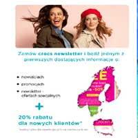 Crocs 20% rabatu dla nowych klientów