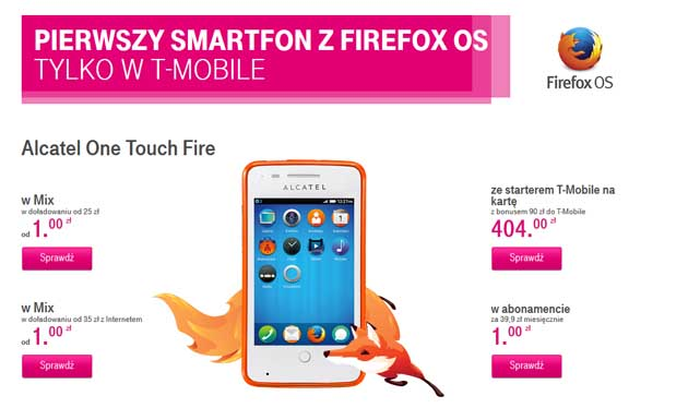 Promocja na telefon Alcatel One Touch Fire w T-Mobile
