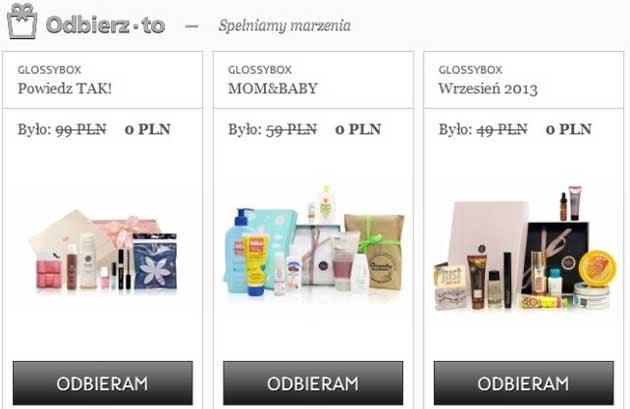 Paczki kosmetyków Glossybox za darmo, za wypełnienie ankiety