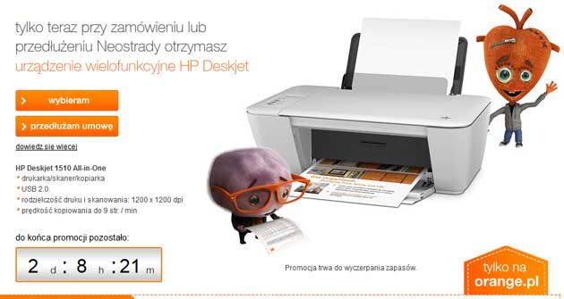 Orange drukarka HP Deskjet 1510 All in One w prezencie do Neostrady