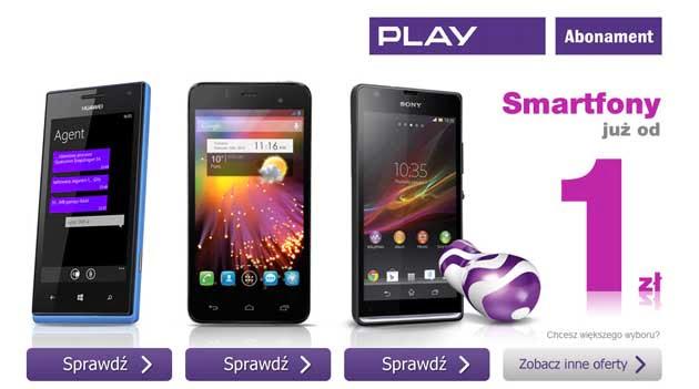 Smartfony od 1 zł w sieci PLAY