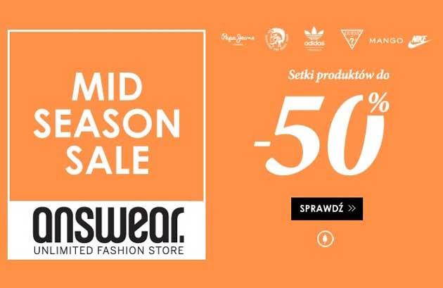 Wyprzedaż butów i ubrań w promocji Mid Season Sale w Answear