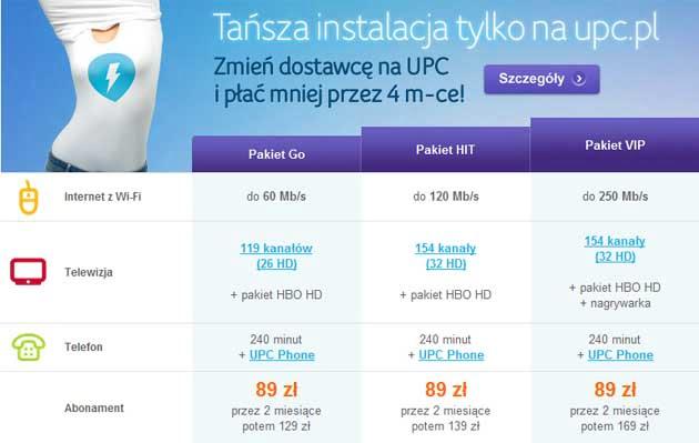 UPC Internet, telewizja, telefon z tańszą instalacją i aktywacją