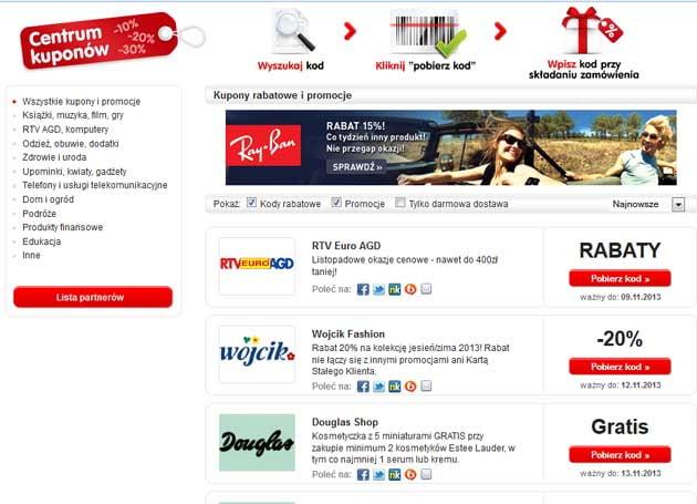 Kupony rabatowe i kody za darmo listopad 2013