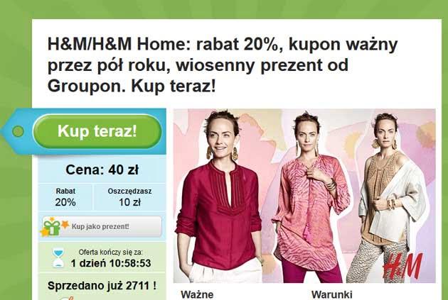 Kupon rabatowy do H&M i H&M Home od Groupon, wiosenny prezent