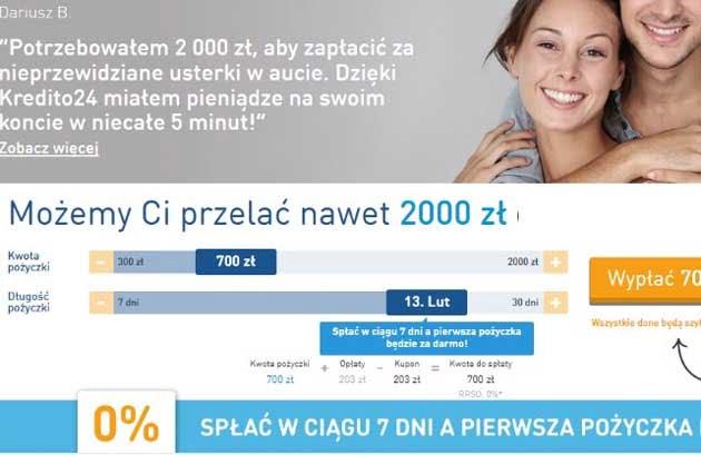 Darmowa pożyczka, chwilówka w Kredito 24