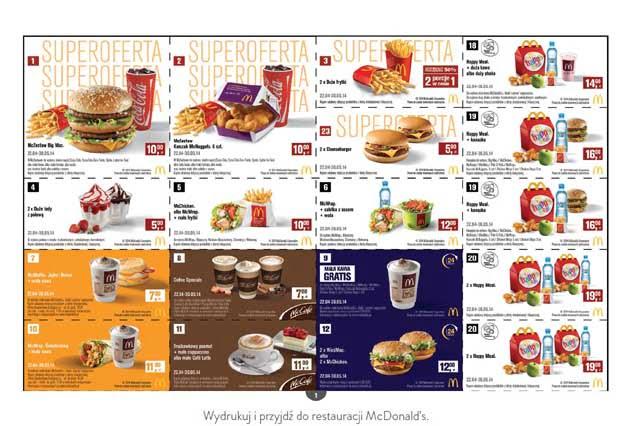Nowe kupony rabatowe na zestawy do McDonald's na Kwiecień i Maj