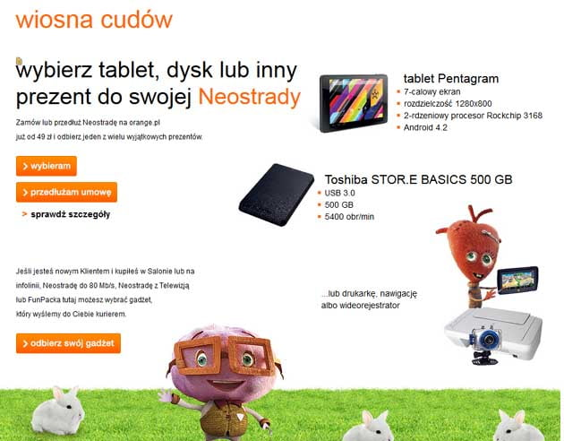 Prezent do Neostrady w Orange odbierz tablet, dysk twardy lub drukarkę za darmo