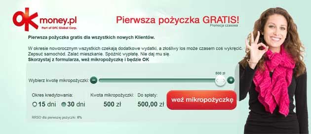 Pożyczka za darmo w Ok Money bez odsetek