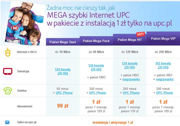 UPC Mega promocja na Internet, telefon i telewizje w jednym pakiecie