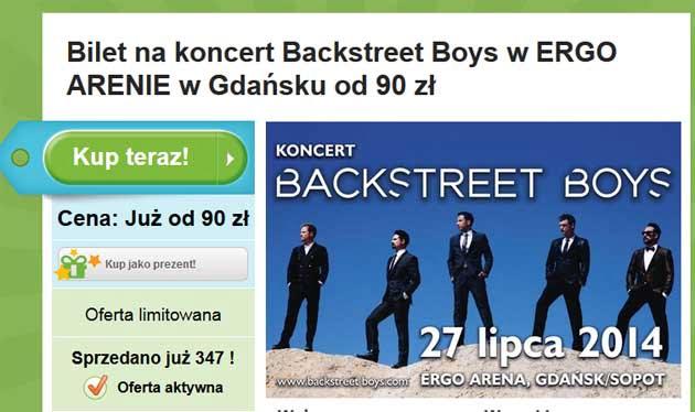 Promocja na bilety, na koncert Backstreet Boys w Polsce