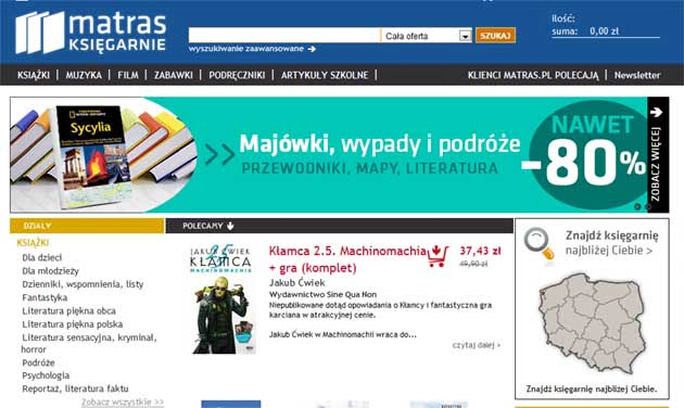 Promocja na książki w księgarni internetowej Matras
