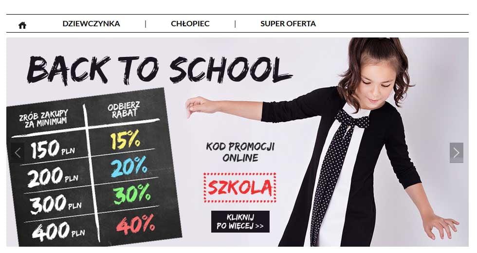 """Wójcik promocja szkolna """"Back to School"""", ubrania dla dzieci taniej nawet o -40% ceny."""