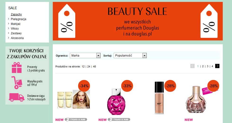 Promocja Beauty Sale w drogerii Douglas, kosmetyki i perfumy tanio