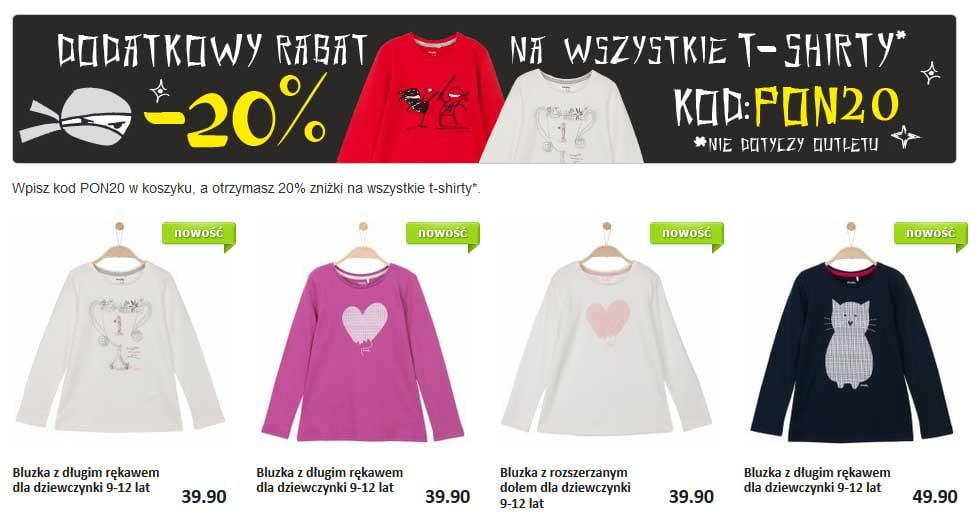 Dodatkowy rabat -20% w promocji na T-Shirty dziecięce w Endo