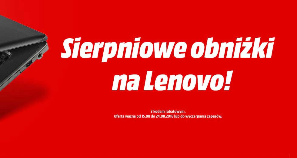 Promocja na laptopy i komputery PC Lenovo w sklepie Media Markt