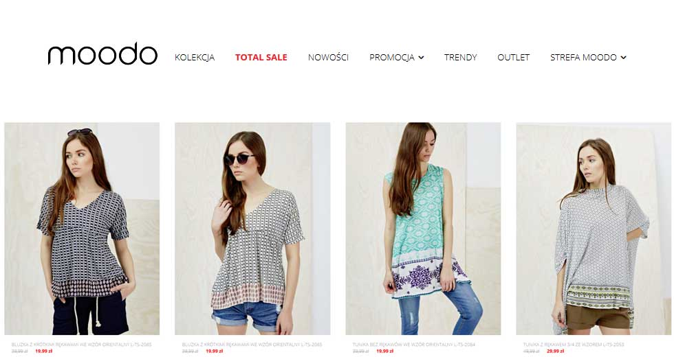 Moodo Total Sale promocja na ubrania dla kobiet