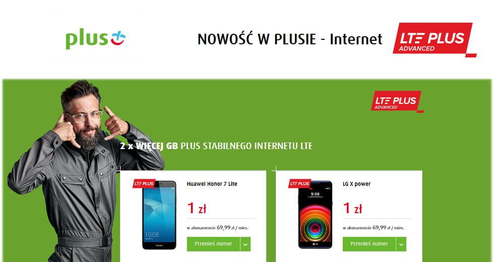 Plus promocja na Internet z telefonem 2x więcej GB LTE PLUS