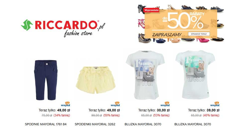 Promocja na odzież w sklepie Riccardo taniej nawet o -50% ceny