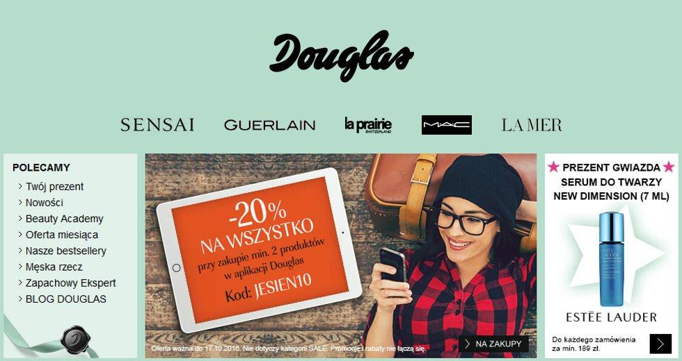Douglas -20% zniżki na kosmetyki w aplikacji mobilnej