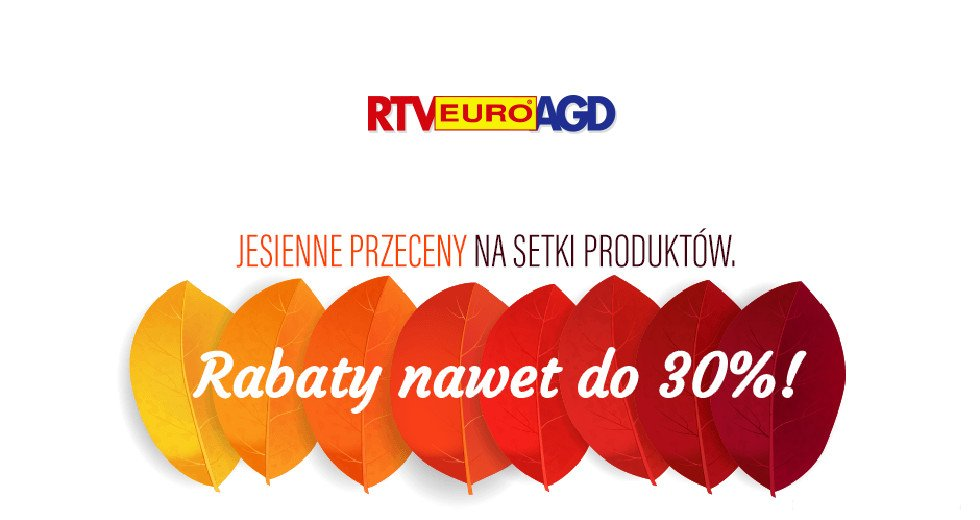 RTV Euro AGD jesienne przeceny do -30% ceny z kodem rabatowym